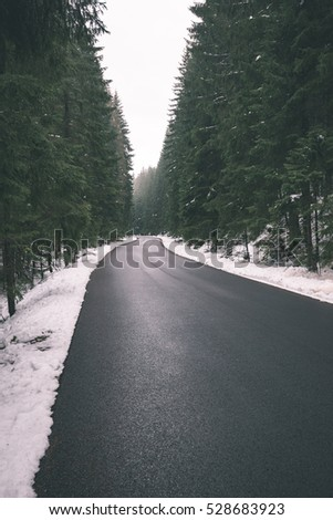the road ahead. countryside in winter, trees and shadows - vintage retro look