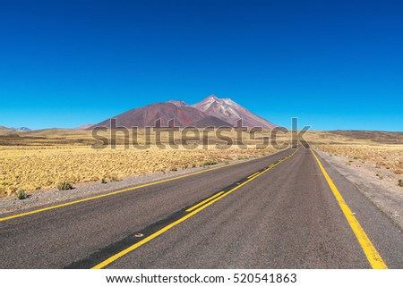 The road on the Altiplano in the Atacama desert, Chile