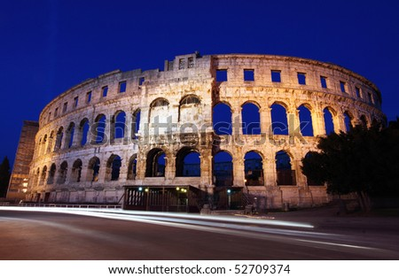 The Roman Amphitheater of pula, Croatia at night.