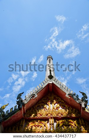 The roof  of thai temple,The buddha sculpture  roof top