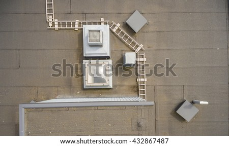 The roof of the apartment building