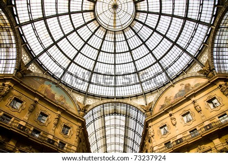 The roof of the Galleria Vittorio Emanuele, a glass-vaulted arcade next to the main square of Milan, Italy