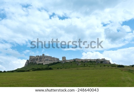 The ruins of Spis Castle or Spissky hrad in eastern Slovakia. Summer view. Built in the 12th century.