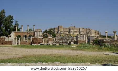 The ruins of St.John's cathedral and the Ayasuluk fortress in Selcuk, Turkey.