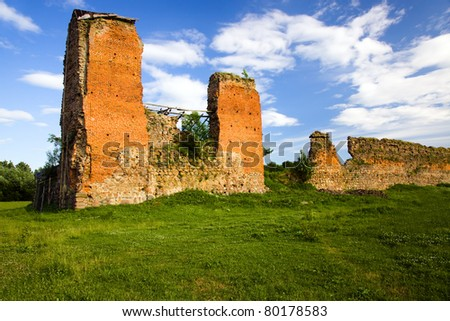 The ruins of the ancient castle located in Belarus (village Krevo, the Grodno area)