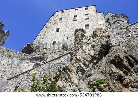 The Sacra di San Michele, a religious complex on Mount Pirchiriano near Turin, Italy. The book The Name of the Rose was inspired by this monumental abbey.
