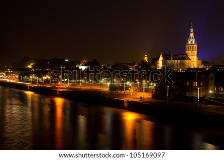 The Saint Steven's Church in the historic city centre of Nijmegen by the river the Waal.