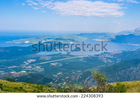 The scenic coast of Tivat looks great from the high mountain peaks, Montenegro.