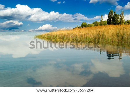 The seaside and clouds, reflected in water.