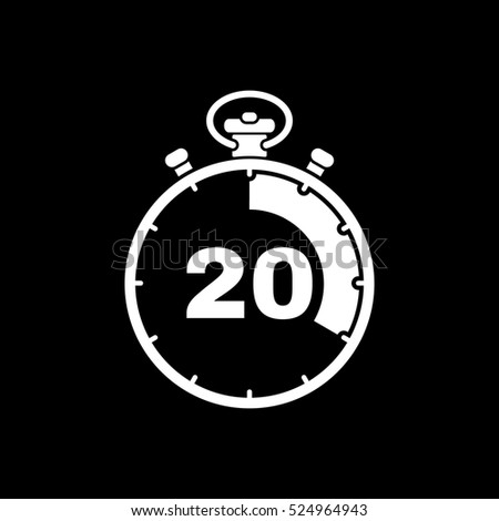 The 20 seconds, minutes stopwatch icon. Clock and watch, timer, countdown, stopwatch symbol. UI. Web. Logo Sign Flat design App Stock