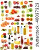 The set fruit, vegetables, meal, drinks, on a white background, is isolated. - stock photo