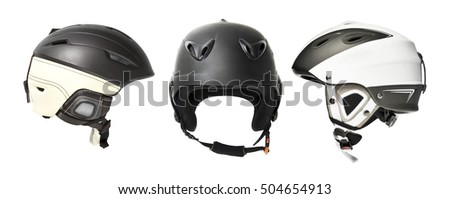 The set of mountain skiing helmets isolated over white background