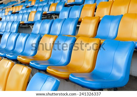the side view row of seats on the stadium