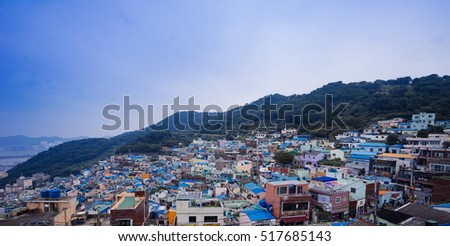 The small town in hillside with colorful roof. Sep.16, 2016, Busan of Korea.