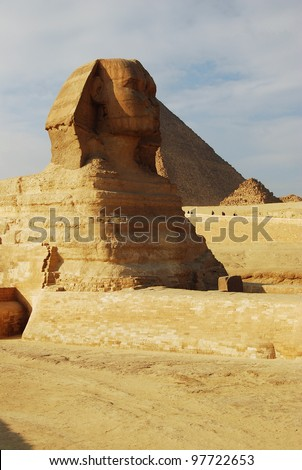 The Sphinx and Pyramids at Giza, near Cairo Egypt.