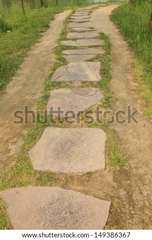 The stone path in the park
