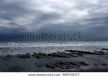 The Stormy Sea in a Dark Night