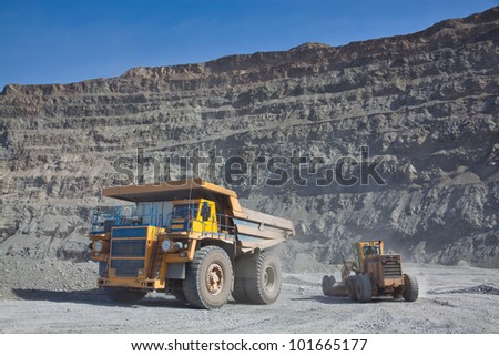 The supersize car and grader in open pit mine