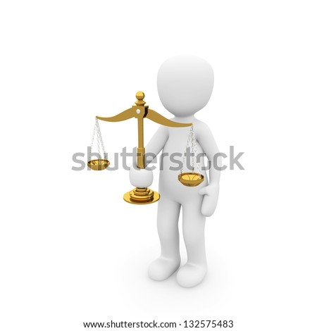 The symbol of justice is justice, and that is represented by a balance of gold. The dignitary is a judge at the district court.