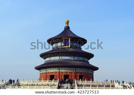 The Temple of Heaven front view with a clear blue sky background in Beijing, China