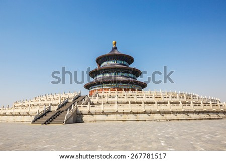 The temple of heaven in Beijing, It is the largest ancient religious buildings in the world, is the Ming and qing dynasties emperor worship of heaven and earth god and pray the grain harvest place