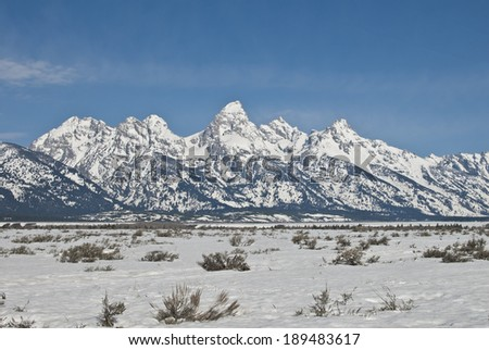 The Teton Mountain Range and sagebrush steppe of Wyoming near Jackson Hole in Spring.