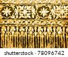 The Thai art carved pearl shell on old wood - stock photo