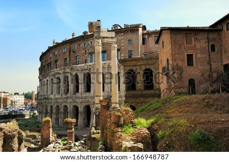 the theatre of Marcellus and the Portico of Octavia, Rome, Italy