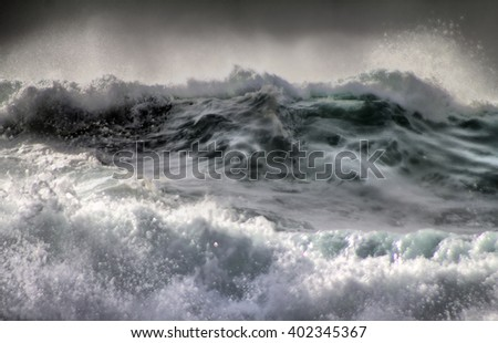 The threat of cataclysm. Devastating hurricane. Killer wave. Ocean storm weather with huge waves close up