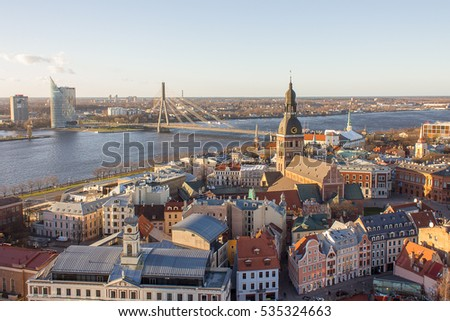The top view on the old, historic center of the city of Riga, Latvia