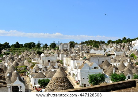 The town of Alberobello in Apulia, Italy, with the famous houses called Trulli, Unesco.