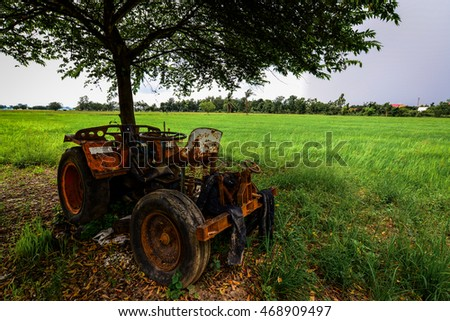 The Tractor on the Rice Cornfield, Phichit, Thailand