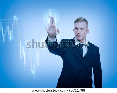 The trader, colorful currency trading concept with graph and businessman.