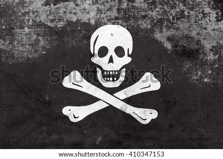 The traditional Jolly Roger of piracy Flag, with a vintage and old look