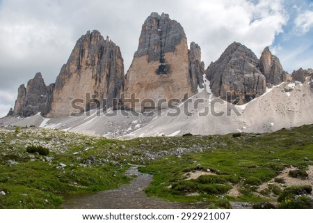 "The Tre Cime di Lavaredo (Italian for ""the three peaks of Lavaredo""), are three distinctive battlement-like peaks, in the Sexten Dolomites of northeastern Italy."