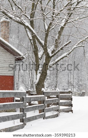 The tree at the house corner next to the fence covered in snow / Winter house corner with wooden fence / Winter rural landscape