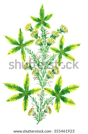 The Ukrainian decorative list. Branch with green hemp.