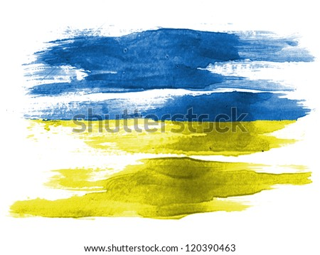 The Ukrainian flag painted on white paper with watercolor