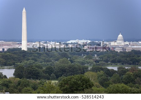 The US Capitol and Washington Monument seen from Arlington, Virginia.
