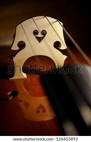 The Valentine heart-shaped woodwork in the bridge of a string bass reflected in the body of the instrument.