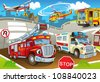 The vehicles in city, urban chaos v 2 - illustration for the children - stock vector