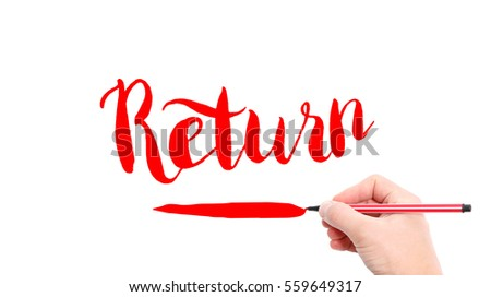 The verb Return written on a white background