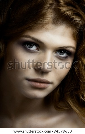the very  pretty red-haired young woman,  sensual look , closeup portrait