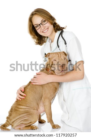 the veterinarian embraces adult sharpei dog.  woman looking at camera. isolated on white background