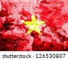 The Vietnamese flag  painted dirty and grungy paper - stock photo