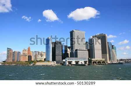 the view from New York under blue sky