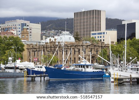The view of marina boats with hobart downtown buildings behind (Tasmania).