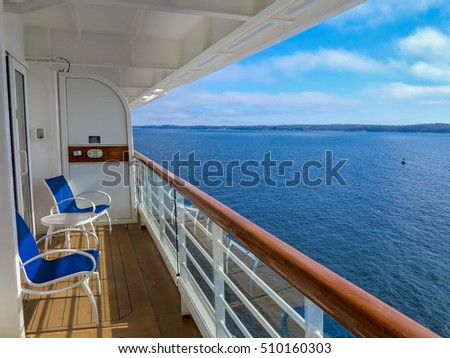 The view of McNabs Island, Halifax, Nova Scotia, Canada from a cruise ship balcony