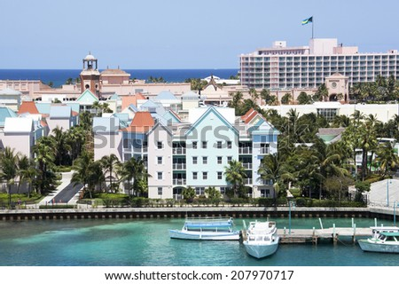 The view of residential buildings and resorts on Paradise Island (The Bahamas).