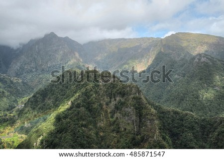 The view of  the high mountains from Balcoes, Ribeiro Frio, Madeira.